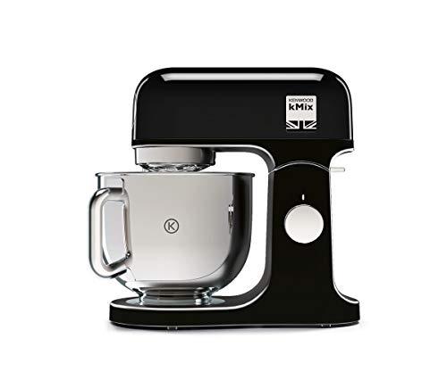 Kenwood kMix KMX75AB - Robot de Cocina Multifunción, 1000 W, Bol Metálico de 5 L con Asa, Gancho para Amasar, Varillas, Mezclado K, Acero Inoxidable, 6 Velocidades, Color Negro