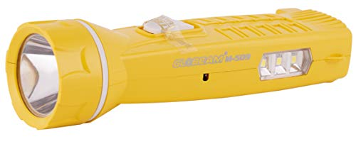 GLOBEAM m-514 Plastic Rechargeable 3 Watt with Side Light and Direct Plug-in Switch with Auto Cut-Off Feature LED Chargeable Torch (Yellow)