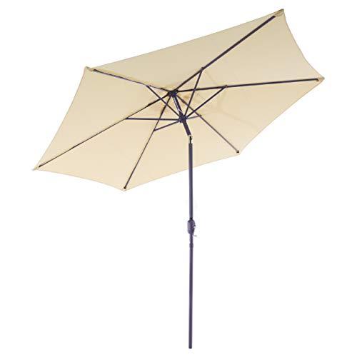 Nexos GM35105 Sonnenschirm Ø 290 cm Stahl Gestell UV Schutz UPF 50+ Gartenschirm Marktschirm mit Kurbel, neigbar Schirmstoff Creme wasserabweisend Höhe 230 cm