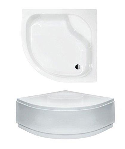 VBChome Acryl-Duschwanne Duschtasse 80 x 80 cm Sitz Viertelkreis DIPER I mit Schürze tief R55 + Ablaufgarnitur Viega 50 Eckduschwanne