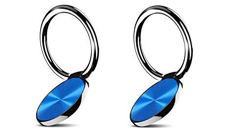 Moogambi Anillo Universal Antideslizante para teléfono móvil rotación 360º y Plegado 180º Soporte Celular para Dedo Anilla metálica Agarre Compatible con Smartphone Tablet GPS/Azul x2