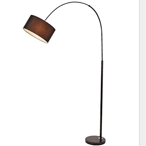 Lámpara de pie nórdica simple Arco Negro Estilo Pesca Mármol base redonda Tela tambor Shade LED lámpara de pie con 1,78 M del interruptor de pie para la sala de lectura Dormitorio Oficina