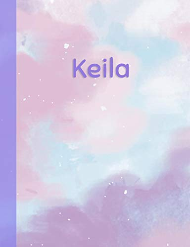 Keila: Personalized Composition Notebook – College Ruled (Lined) Exercise Book for School Notes, Assignments, Homework, Essay Writing. Purple Pink Blue Cover Art - Cloud Marble with Name