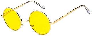 نظارة شمسية باطار دائري معدني من فينتاج بعدسات باللون الاصفر