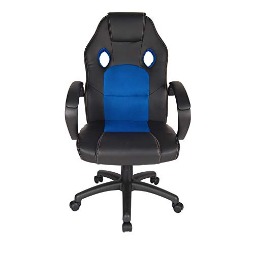 Polar Aurora Leather Office Chair High Back Ergonomic Adjustable Racing Chair Swivel Computer Gaming Chair Headrest and Lumbar Support -Blue blue chair gaming