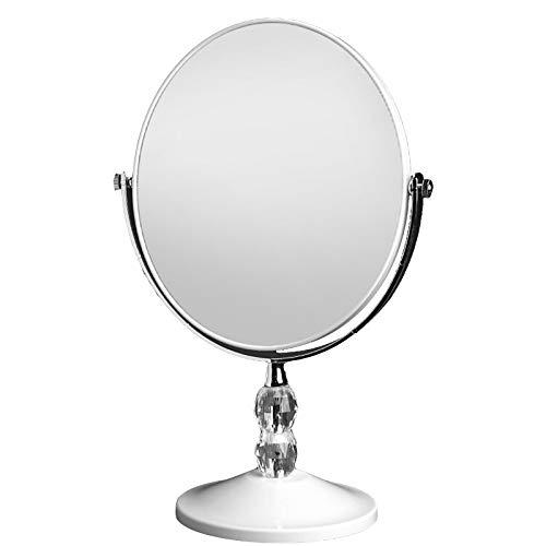 JINBAO Espejo de Maquillaje HD Espejo de Escritorio Portátil de Escritorio de Doble Cara con Tres Aumentos Espejo Princesa Ovalado [Cristal Transparente]