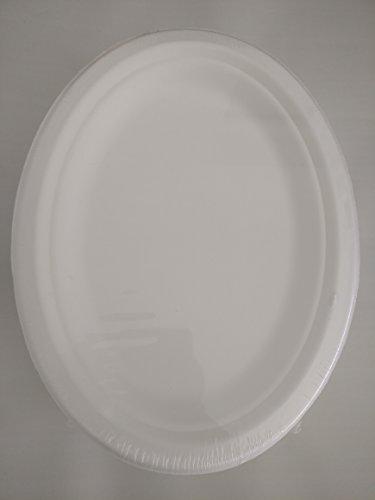 Assiettes jetables en canne à sucre, Bagasse, 26 cm x 19 cm, ovale, Lot de 50
