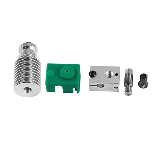 KEKEYANG Computer Accessories, Upgraded Extruder Hotend HeatSink Kit PT100 V6 Heating Block for 1.75mm 3D Printer Tools