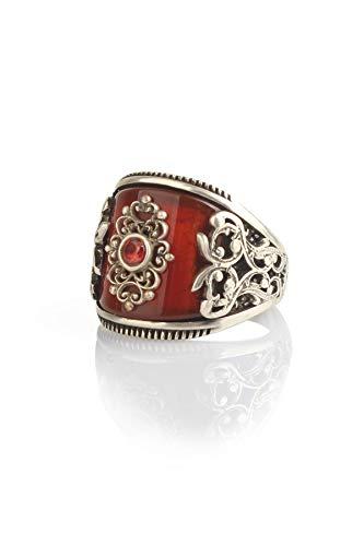 Inlaid Ruby Gem 925 Sterling Silver Handmade Men's Ring