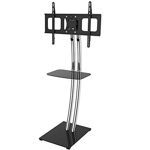 Soporte giratorio de acero inoxidable para TV, para televisores planos curvos de 32 a 70 pulgadas, tornillos blancos para soporte de TV, hasta 68 kg, altura de inclinación ajustable, VESA máximo 600x4