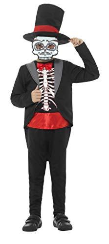 Smiffys Kinder Jungen Tag der Toten Kostüm, Jacke, Oberteil, Hose, Hut und Maske, Alter: 7-9 Jahre, 45189
