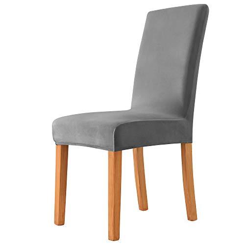 MILARAN Samt Stuhlhussen für Esszimmer, Stretch elastische Stuhlüberzüge, waschbar abnehmbare Stuhlabdeckung, Spannbezug mit Gummiband(4 Stück,Dunkelgrau)