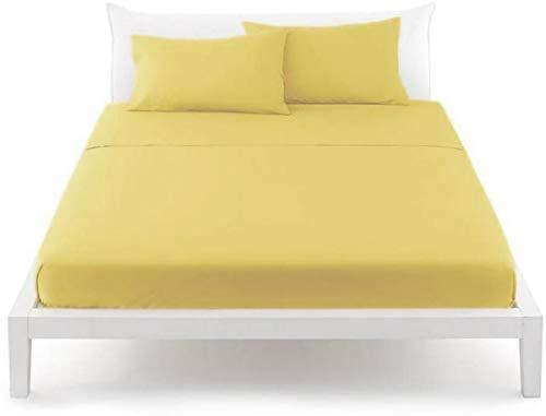 Bassetti Linea Pop Color Lenzuolo per sotto 100% Cotone con Angoli Perfetto Veste materassi Fino a 30cm (Y1 Limone, Matrimoniale 175x200)