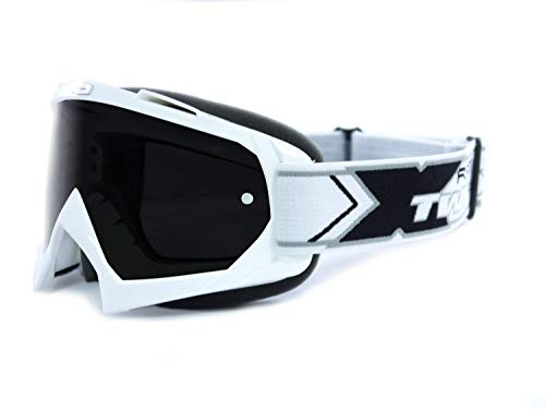 TWO-X Race Crossbrille Weiss Glas getönt schwarz grau MX Brille Motocross Enduro Spiegelglas Motorradbrille Anti Scratch MX Schutzbrille