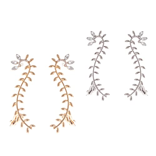 Amosfun 2 Pairs Branch Shaped Ear Clips Sparkly Rhinestone Pave Ear Crawler Pendants Fashion Earrings Delicate Shiny Ear Jewelry for Women Girls