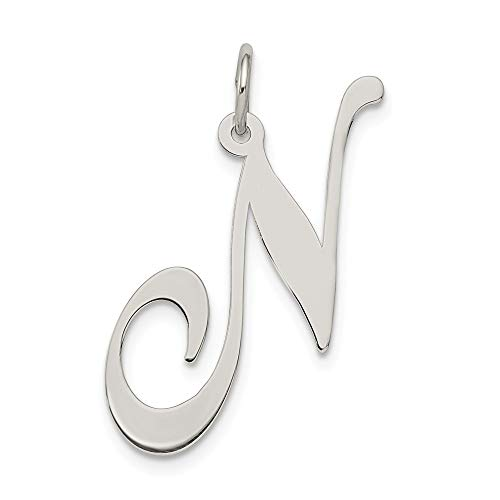 925 Sterling Silver Script Letter N Initial Monogram Name Pendant Charm Necklace Fine Jewelry For Women Gifts For Her