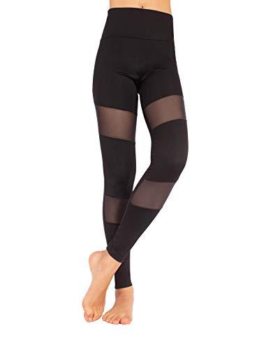 CALZITALY – Leggings Deportivos, Pantalones Yoga, Mallas Elásticas Talle Alto y Transpirantes | Fitness, Runing, Pilates | Negro | XS, S, M, L, XL | Made in Italy | (XL, NEGRO)