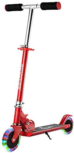 DUWEN Scooter para niños Bicicletas de Ajuste de Tres velocidades y Plegables de Tres velocidades con Rueda de Flash (Color : Red)