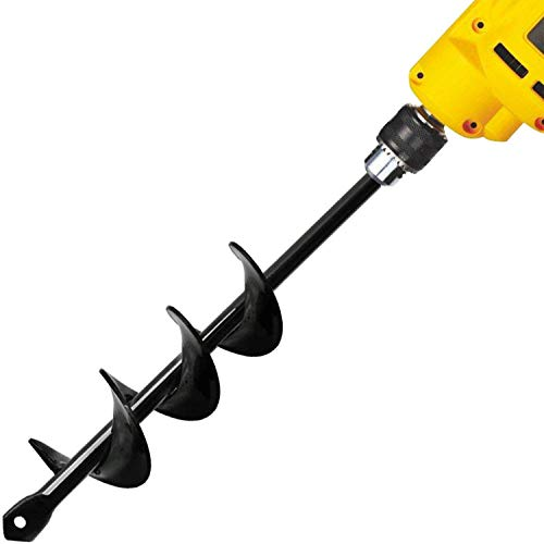 Auger Drill Bit, Garden Plant Flower Bulb Auger 4.6x37cm Rapid Planter, Bedding Plant Auger for Most 3/8' Hex Drive Drill Earth Auger Drill Fence Post Umbrella Hole Digger