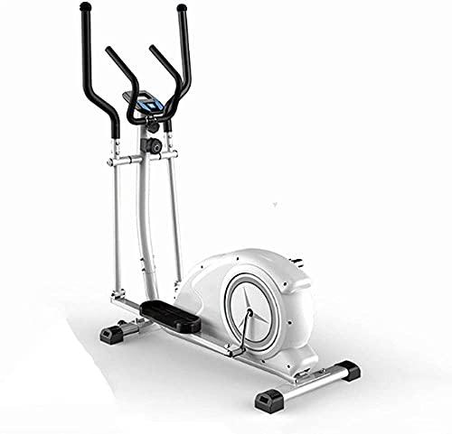 Bicicleta Elíptica Fitness Cross Trainer Entrenador Elíptico Entrenador Fitness Ejercicio Bicicleta Espacio Paseo Máquina Silencioso Control magnético Equipo para el hogar-Blanco