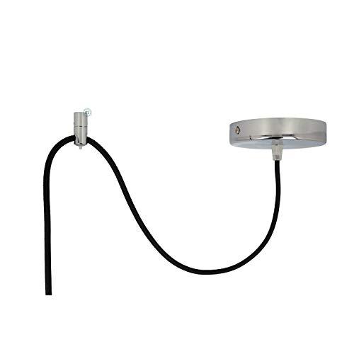 Aufputz Kabelhalter Metall Kabelaufhängung für Textilkabel geeignet als Wand und Deckenpin für kreative Beleuchtung wie Affenschaukel. Zur Punktgenauen Abhängung einzelner Lampenpendel 1 Stück, Chrom