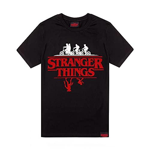 Stranger Things Camiseta Hombre Mujer Unisex Upside Down Black Top X-Large