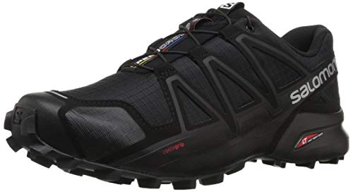 Salomon Men's Speedcross 4 Trail Running Shoes, Black/Black/BLACK METALLIC, 12