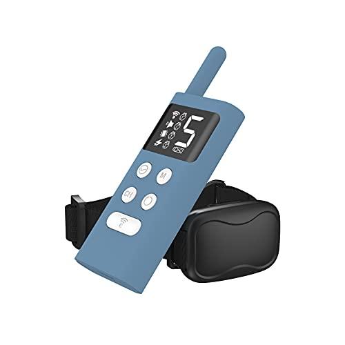 YFAX, Collar de Entrenamiento de Perros, para Detener el ladrido de Perros, con Control Remoto a Prueba de Lluvia, Rango Remoto Largo, Collares de Choque Ajustables-Blue