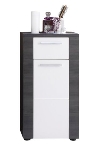Trendteam 131280110 Xpress - Mueble auxiliar para baño (estructura y puerta frontal de madera de fresno, 40 x 78 x 28 cm), color gris y blanco