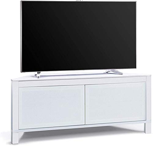Centurion Supports Volans Ferngesteuerter TV-Eckschrank mit 2 Türen, Tru-Corner Glas, bar, Schwarz/Weiß