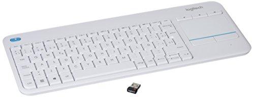 Logitech K400 Plus Kabellose TV-Tastatur mit Touchpad, 2.4 GHz Verbindung via Unifying USB-Empfänger, Programmierbare Multimedia-Tasten, Windows/Android/ChromeOS, Spanisches QWERTY-Layout - weiß