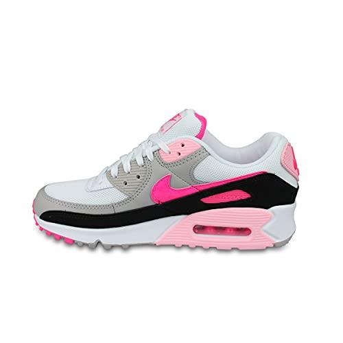 Nike Air MAX 90, Zapatillas Deportivas Mujer, White Hyper Pink Black College Grey, 40 EU
