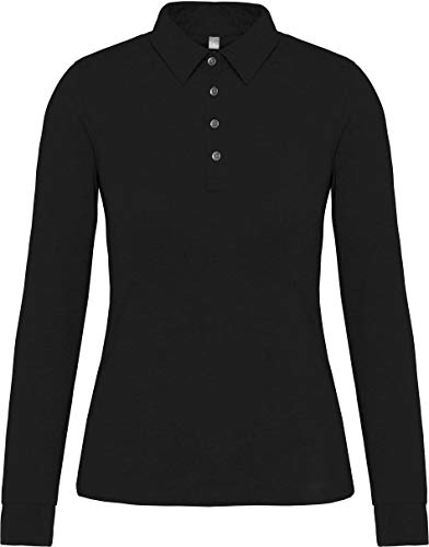 Kariban Polo Jersey Manches Longues Femme - Noir, XL, Femme