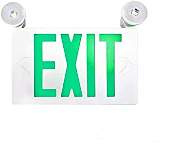 SPECTSUN LED Exit Emergency Light with Battery Backup, Green Exit Emergency Sign with 2 Lamp Heads, Fire Exit Sign with Emergency Lights, Hardwired Exit Sign - 1 Pack, Plastic Modern Exit Sign Indoor