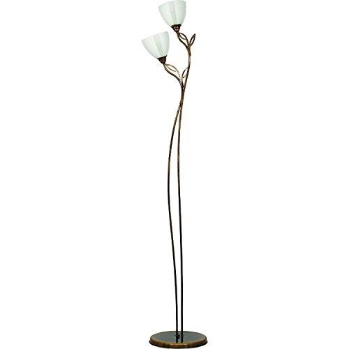 Stehlampe 162cm Jugendstil Metall Glas 2-flammig Wohnzimmer edel Deckenfluter Messingfarben Leuchte