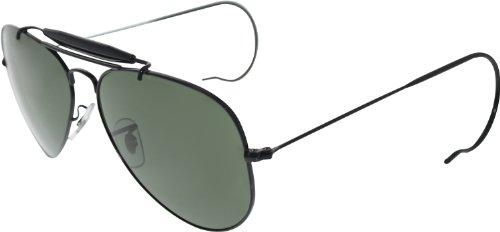 Ray Ban Rb3030 Outdoorsman Black / Grey / Green, Tempered Glass Metallgestell Sonnenbrillen
