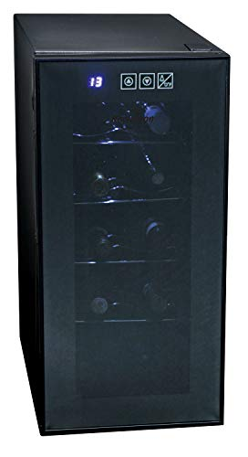 Koolatron KWT10BN Wine Cooler with 10 Bottle Capacity, Vibration-Free Thermoelectric Cooling, Digital Temperature Controls, Black