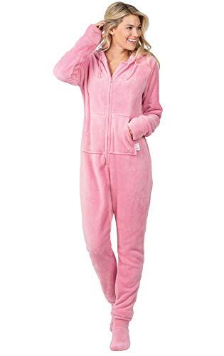 PajamaGram Womens Onesie with Hood - Adult Footie Pajamas, Pink, Medium / 8-10