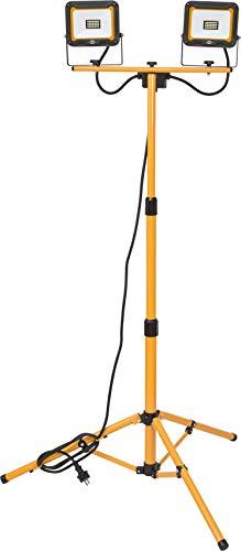 Brennenstuhl Stativ LED Strahler JARO 4000 T / LED Baustrahler mit Stativ für außen (IP65, 2x 20W, mit Kabelhalterung und Rohrspannmuttern, 2,5m Kabel, höhenverstellbar bis max. 160cm)