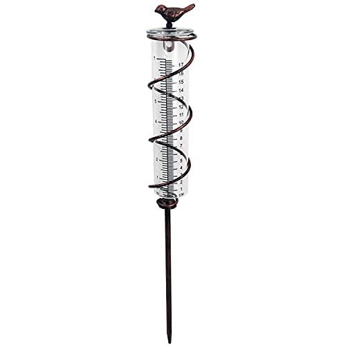 JOYBee 7inch Capacity Glass Spiral Rain Gauge,Cast Iron Bird Hanging Rain Gauge,Decoration for Garden Lawn Backyard