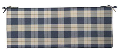 RSH Décor Indoor Outdoor 3' Foam Bench Cushion with Ties, (72' x 18' x 3') Choose Color (Branson Lapis Blue)
