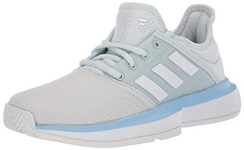 adidas Unisex-Kid's CourtJam Tennis Shoe, Blue Tint/White/Glow Blue, 2 M US Little Kid