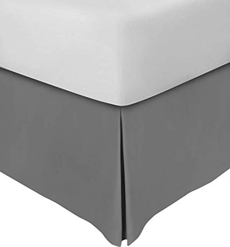 Valencia Beddings Split Corner Bed Skirt 16 Inch Drop Full Size 100% Natural Cotton Wrinkle and Fade Resistant Full Size, Dark Grey Solid