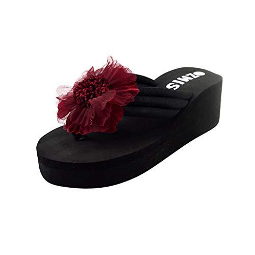 Xmiral Sandals Flip Flops Slippers Women Ladies Flowers Home Beach Shoes Sole Material EVA Shoes Heel High: 3cm/5cm(Wine-5.5cm,3.5 UK)
