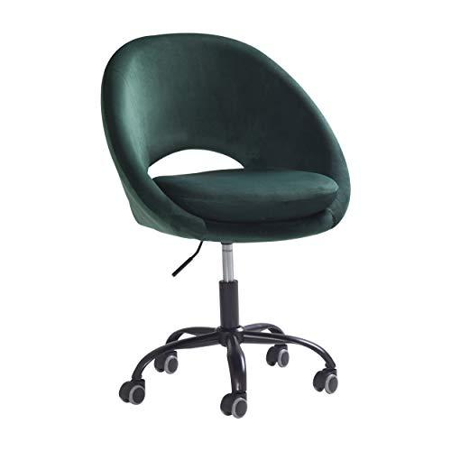 HIC High in the clouds Rolling Bürohocker Verstellbar Hydraulische Schminktisch Stuhl mit Rücken Bürostuhl Schreibtischstuhl 360° Drehhocker mit Lehne Grün