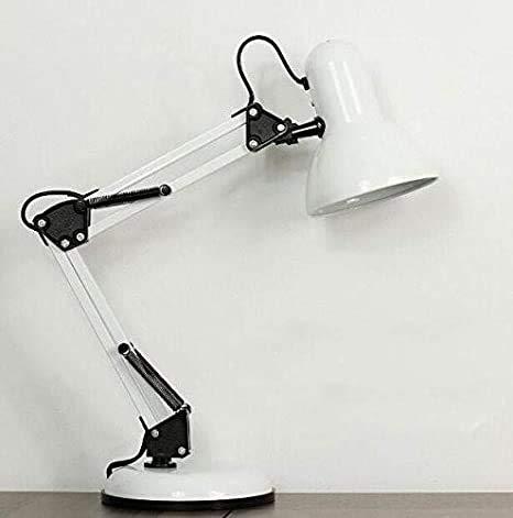 Rosch weiß Arbeitsplatzlampe Leselampe Schreibtischlampe Arbeitsplatz-leuchte Schreibtisch-Leuchte mit Gelenk-Arm aus Metall inkl. LED Glühbirne
