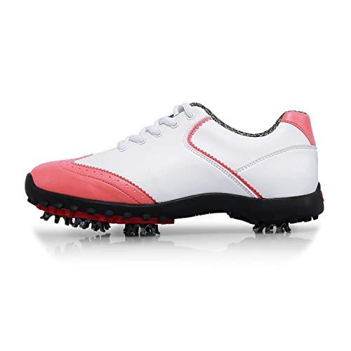 CGBF-Zapato de Golf Antideslizante Impermeable para Mujer con Pinchos,Zapatillas Deportivas Suaves y Transpirables,Rosado,38 EU