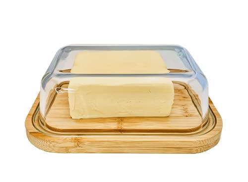 Greenable ® Butterdose - Nachhaltiger Behälter aus Bambus mit Deckel aus Glas - 100% BPA-Frei - Butter Dish - Für 250g Butter - Umweltfreundliche transparente Dose mit Bambusdeckel