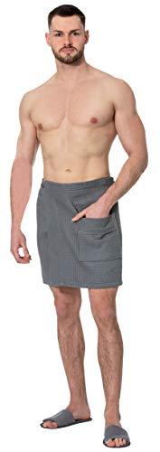 ZOLLNER Saunakilt für Herren, 100% Baumwolle, 200g/qm, 44x120 cm, Waffelpique