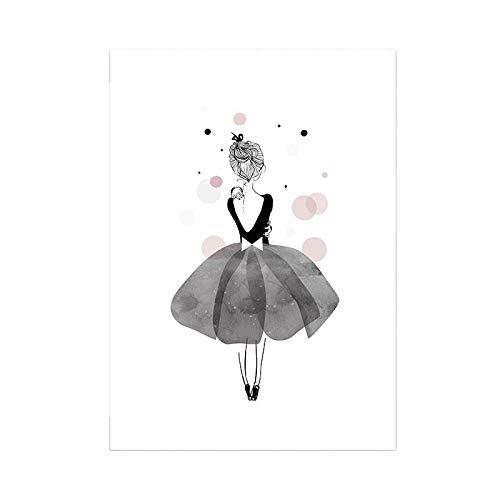 LaLe Living Hochwertiger Leinwanddruck mit süßer Ballerina als Motiv A4 21x30cm (ohne Rahmen) - Kunstdruck Moderne Poster Print Leinwandbild Wandbild Leinwand Plakat Deko Bild DINA4